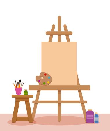 Bunte Vektorinnenillustration des Kunststudios. Malerkünstler-Werkstattraum mit Werkzeugen: Leinwand, Staffelei, Farben, Palette, Bürsten, Bleistifte