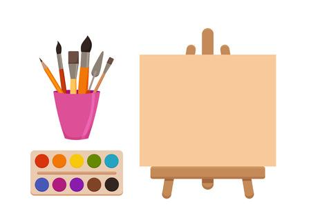 Elementos de herramientas de pintura conjunto de vectores coloridos dibujos animados. Suministros de arte: caballete con lienzo, tubos de pintura, pinceles, lápiz, acuarela, paleta. Dibujo de materiales creativos para diseños de talleres. Foto de archivo - 95814098