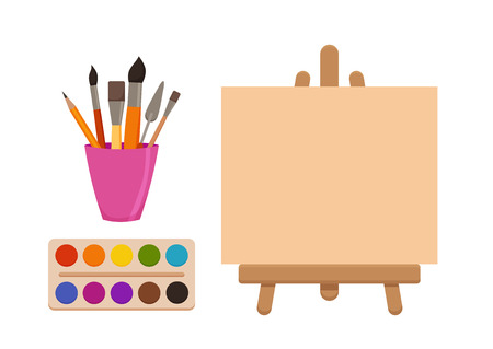 Painting  tools elements cartoon colorful vector set. Art supplies: easel with canvas, paint tubes, brushes, pencil, watercolor, palette. Drawing creative materials for workshops designs