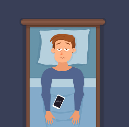 Sleepless man face cartoon character suffers from insomnia. Illustration