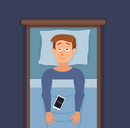Schlaflose Manngesichtszeichentrickfilm-figur leidet unter Schlaflosigkeit.