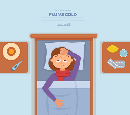 Sick girl in bed with the symptoms of cold, flu.