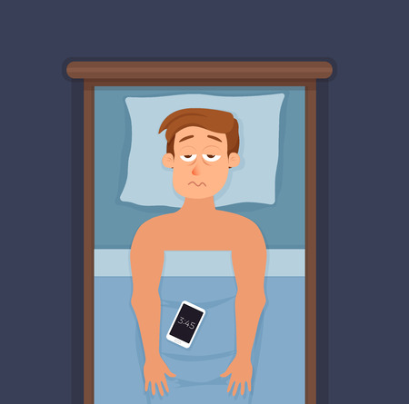 Sleepless man face cartoon character suffers from insomnia. Stock Photo