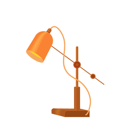 Desk lamp modern cartoon colorful vector illustration. Table bulb office workplace design element in flat style isolated on white background. The flow of light. Icon for business and education.