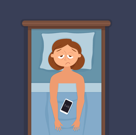 Sleepless woman face cartoon character suffers from insomnia