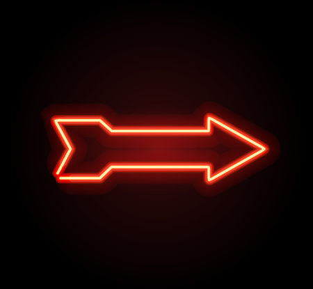 Neon glowing arrow pointer  on dark background. Colorful and shining retro light sign. Vector design element. 向量圖像