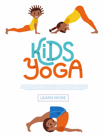 Cute cartoon gymnastics for children and healthy lifestyle sport illustration. Vector concept happy African kids exercise poses and yoga asana flayer template for fitness design