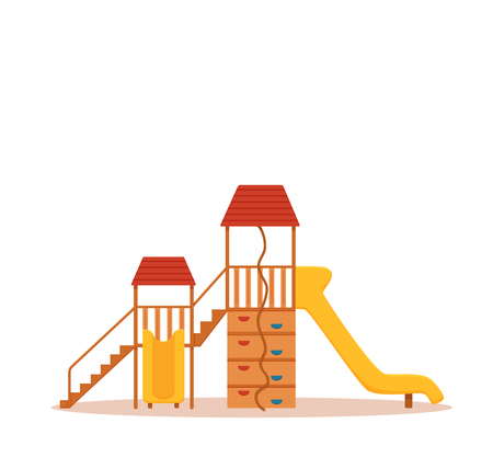 Kid s playground colorful cartoon vector illustration. City park children s illustration design elements: swings, a slide, a sandpit. School yard background for web, banners, advertising, flyers