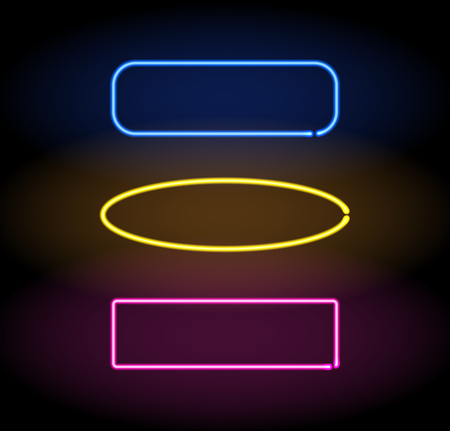 Neon frame colorful set. Vector illustration sign in the shape of a square, rectangle, circle design element template.