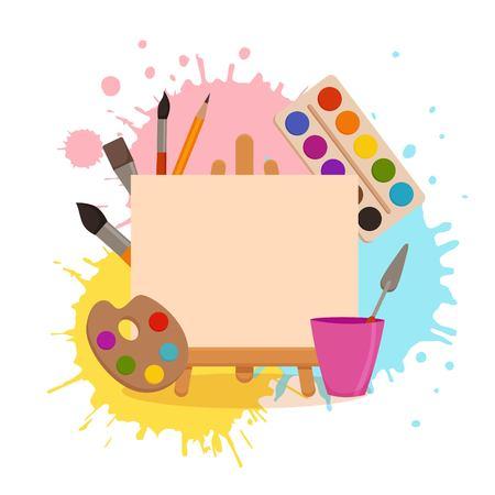 Pittura strumenti elementi fumetto colorato concetto di vettore. Forniture artistiche: cavalletto, tela, tubi di vernice, pennelli, sfondo schizzi ad acquerello. Disegno di illustrazione di materiali creativi per progetti di laboratori Vettoriali