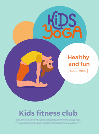 Cute cartoon gymnastics for children and healthy lifestyle sport illustration. Vector concept happy kids exercise poses and yoga asana flayer template for fitness design