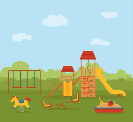 Kid s playground colorful cartoon vector illustration.