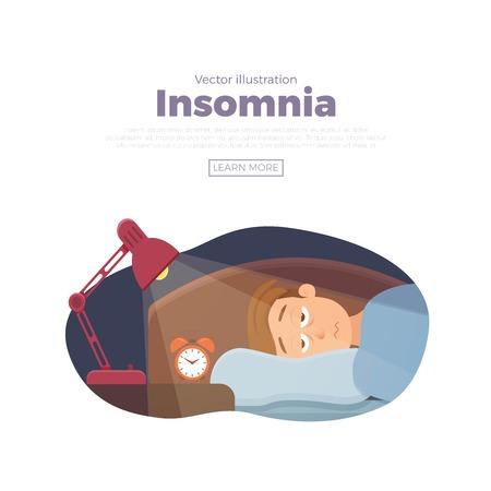 Le personnage de dessin animé de visage d'homme sans sommeil souffre d'insomnie. Guy aux yeux ouverts dans l'obscurité nuit couché sur le concept de lit. Homme triste éveillé, fatigué de ne peut pas rêver illustration vectorielle de problème Vecteurs