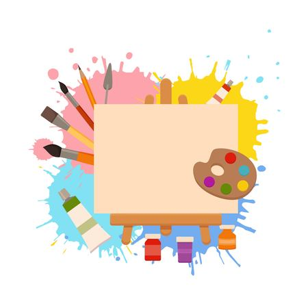 Painting tools elements cartoon colorful vector concept.
