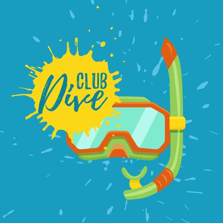 Snorkeling and diving center vector logo illustration