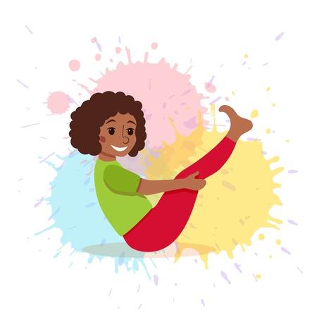 Cute cartoon gymnastics for children and healthy lifestyle