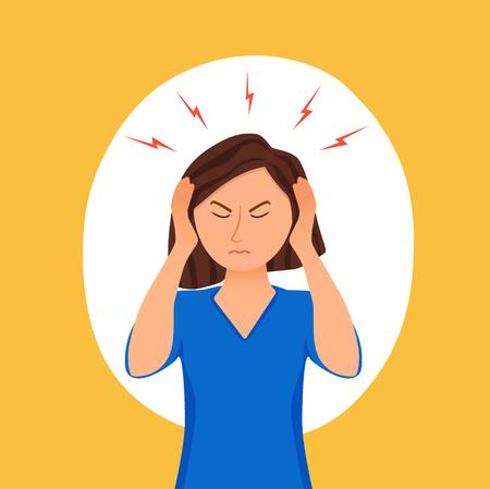Young woman having headache cartoon illustration. Stressed girl portrait