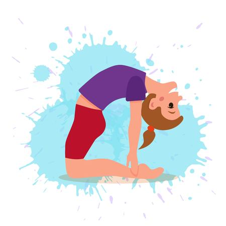 Cute cartoon gymnastics for children and healthy lifestyle sport illustration. Vector happy kids fitness exercise and yoga asana colorful design
