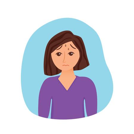 Girl suffers from panic attack cartoon style concept. Depression symptoms, risk factors woman vector illustration for medicine infographic, websites, brochures, magazines. Illusztráció