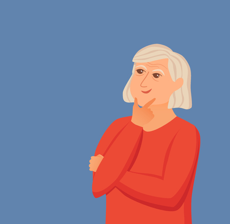 Old woman thinking with question marks. Vector illustration of lady puzzled with problem looking around. Cartoon design male person wondering for decision, smiling.