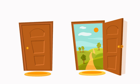 Open and close door cartoon colorful vector illustration with valley summer sun landscape with road and trees. House apartment entrance corridor flat design. Home exit interior view freedom concept. Stok Fotoğraf - 115451828