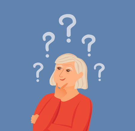 Old woman thinking with question marks. Vector illustration of lady puzzled with problem looking around. Cartoon design male person wondering for decision, smiling. Illustration