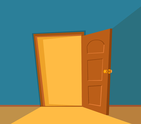 Open door cartoon colorful vector illustration. House apartment entrance Illustration