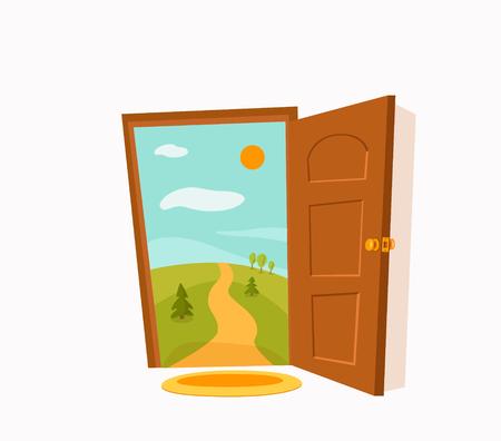 Open door cartoon colorful vector illustration. House apartment entrance Stok Fotoğraf - 115627062