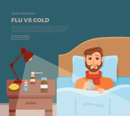 Sick menl in bed with the symptoms of cold, flu.
