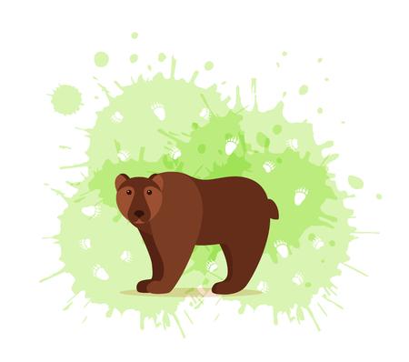 Animaux de la forêt avec des empreintes de pied illustration vectorielle colorée de style dessin animé. Collection de mammifères de la nature sauvage avec silhouette de pistes : ours,