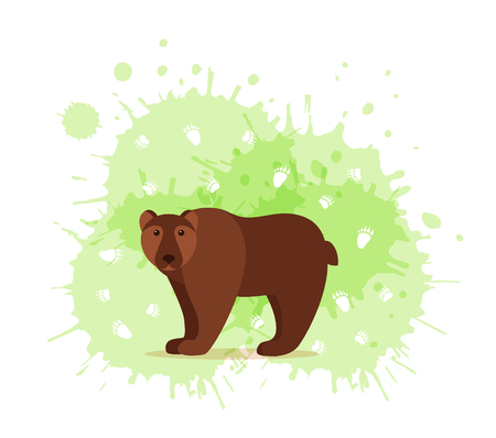 Forest animals with foot prints cartoon style colorful vector illustration. Collection of wild nature mammals with tracks silhouette: bear,