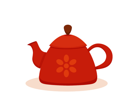 Teapot cartoon colorful vector illustration. Flat design kettle icon isolated on white background