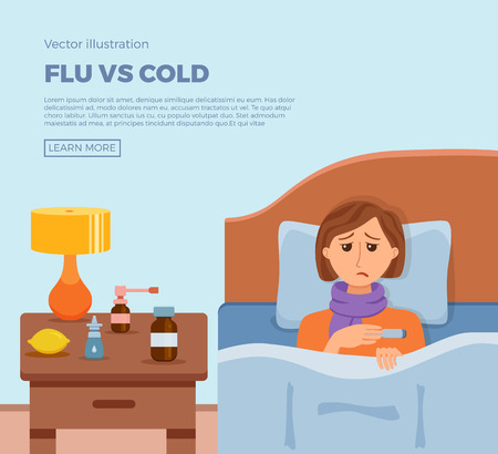 Sick menl in bed with the symptoms of cold, flu. Ilustração