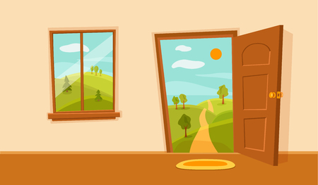 Window and door cartoon colorful vector illustration with valley summer sun landscape