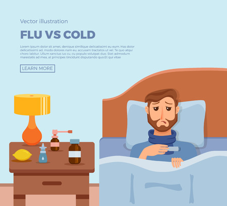 Sick menl in bed with the symptoms of cold, flu. Illustration