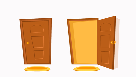 Open and close door cartoon colorful vector illustration.