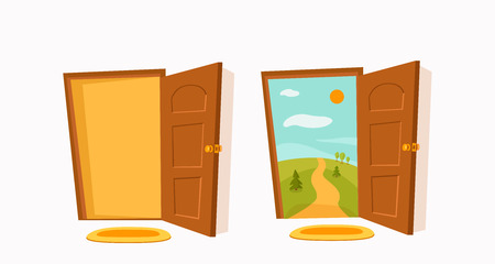 Open door cartoon colorful vector illustration with valley summer sun landscape with road, trees green field. House apartment entrance corridor flat design. Home exit interior view freedom concept.