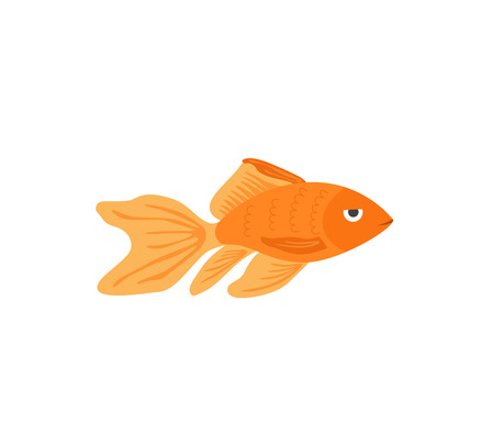 Vector aquarium golden fish silhouette illustration