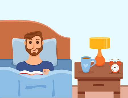 Guy lying on bed in home bedroom and reading a book in her hands under lamp light. Vector illustration of young man having rest, relax, cozy comfortable night home interior with cup of tea, clock.