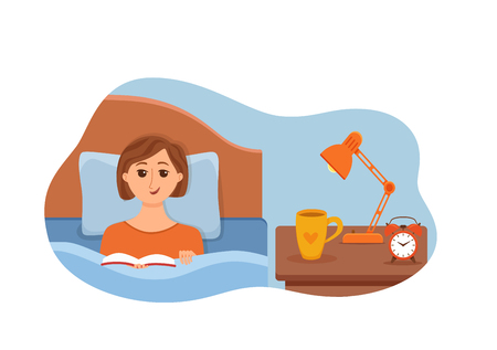 Girl lying on bed in home bedroom and reading a book in her hands under lamp light. Vector illustration of young woman having rest, relax, cozy comfortable night home interior with cup of tea, clock.