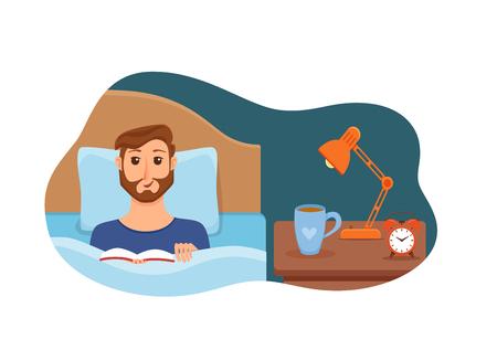 Chico acostado en la cama en el dormitorio de su casa y leyendo un libro en sus manos bajo la luz de la lámpara. Ilustración de vector de joven descansando, relajarse, acogedor interior de casa de noche cómoda con taza de té, reloj. Ilustración de vector