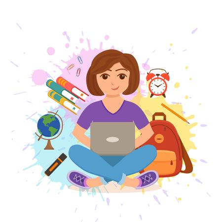 Young girl working on computer colorful vector education concept.