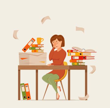 Frau beschäftigt müde Arbeiten am Computer buntes Vektorkonzept. Cartoon flacher Stil Illustration Büroangestellter gelangweilt Mädchen Kopfschmerzen mit Schreibtisch Laptop. Freiberuflerin, Sekretärin, Geschäftsfrau