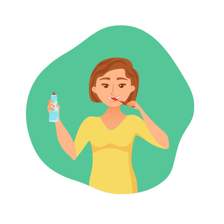 Young woman brush teeth cartoon style vector concept. Smiling cheerful girl taking care of her health and holding tooth paste in her hand. Oral hygiene and morning routine illustration. Banco de Imagens - 122863499