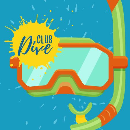 Snorkeling and diving center vector logo illustration. Colorful scuba sign icon Illustration