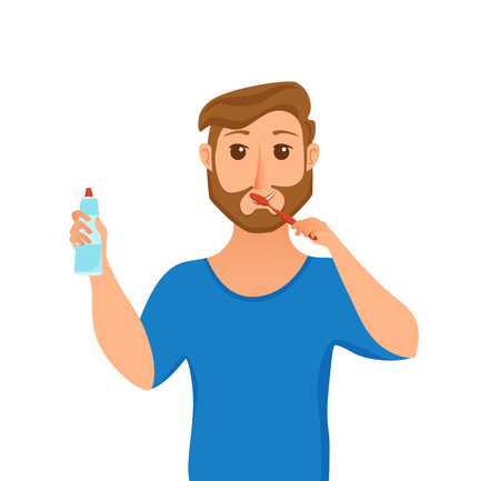 Young man brush teeth cartoon style vector concept. Smiling cheerful boy taking care of his health and holding tooth paste in his hand. Oral hygiene and morning routine illustration.