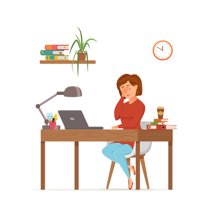 Woman busy tired working on computer colorful vector concept. Cartoon flat style illustration office clerk bored girl headache with desk laptop. Female character freelancer, secretary, businesswoman