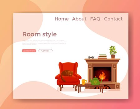 Colorful vector cozy interior warm bright winter illustration in cartoon flat style. Fireplace