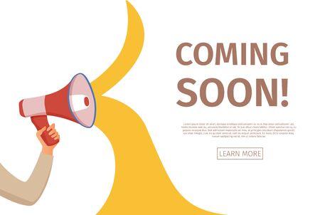 Megaphone announcement cartoon style illustration with speech bubble. Stock Illustratie