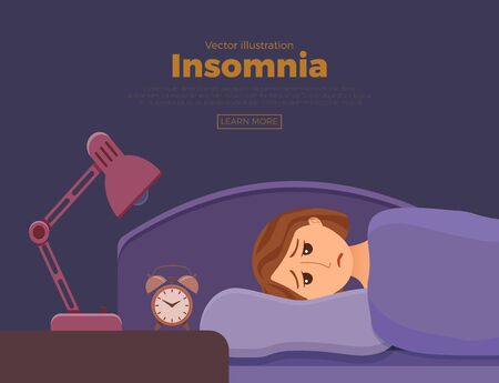 Sleepless woman face cartoon character suffers from insomnia. Illustration